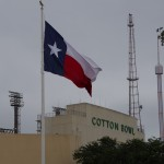 The Texas State Flag, and the Cotton Bowl, famous for its showdown UT football games - October 2014