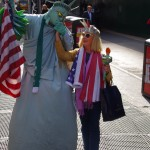 Nola Hennessy, as the Lady of Liberty, on Broadway - October 2014