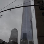 New York City - the new Freedom Tower near Ground Zero Memorial water fountains